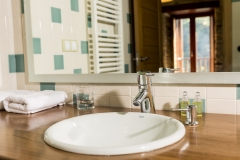 Detalle do baño dunha habitación Casa As Triegas